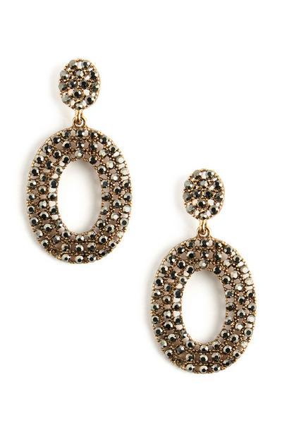 Oval Diamante Hoop Stud Earrings