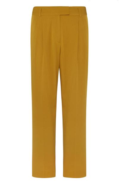 Gorčične hlače z ozkimi hlačnicami