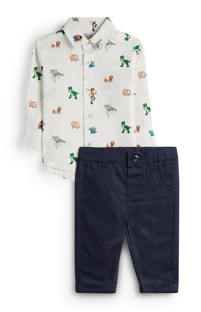 Bela srajca z motivi Sveta igrač in hlače za dojenčke
