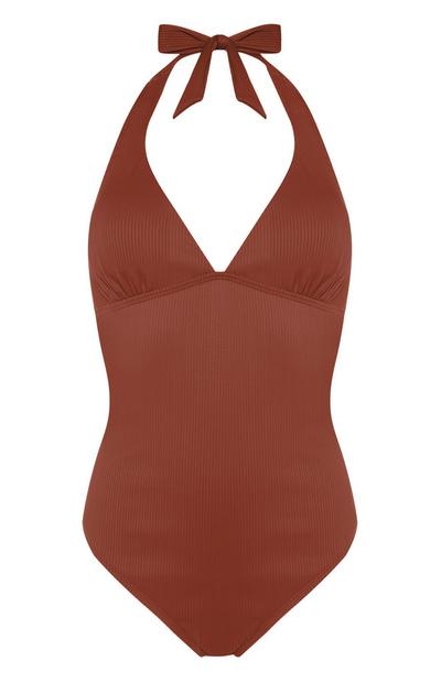 Terracotta Halterneck Swimsuit