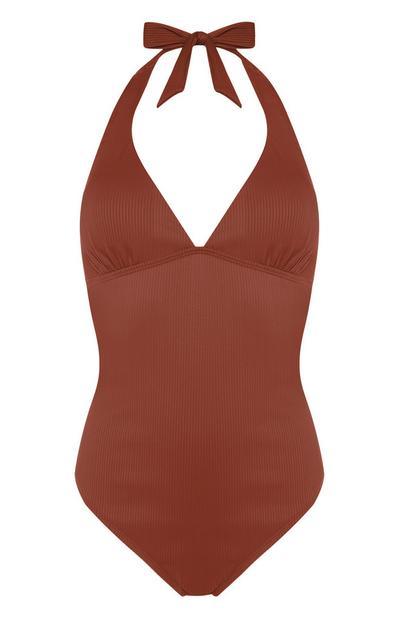 Terracotta Halterneck Swimsuit