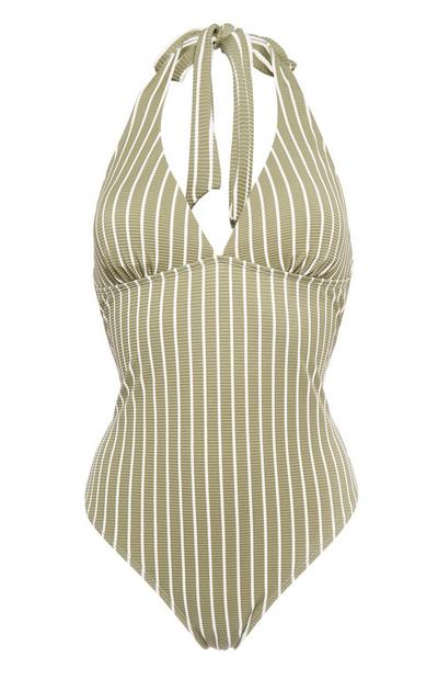 Khaki Stripe Halter Neck Swimsuit