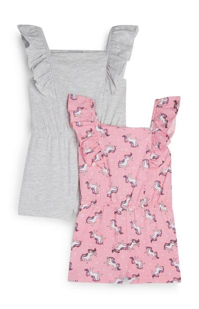 Younger Girl Grey And Pink Unicorn Print Frill Playsuits 2Pk