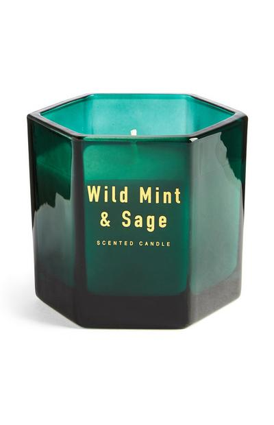 Candela verde Hexagon Wild Mint and Sage
