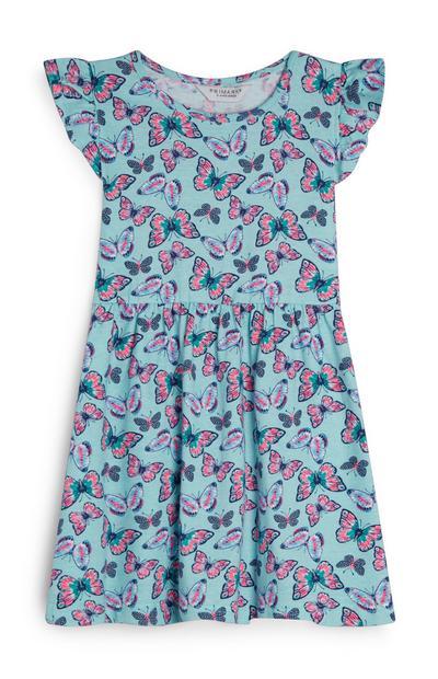 Blauer Playsuit mit Rüschen und Schmetterlingen (kleine Mädchen)