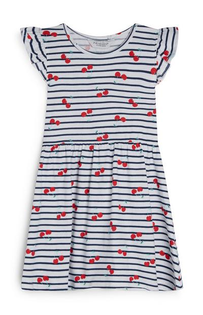 Gestreiftes Kleid mit Kirsch-Print (kleine Mädchen)