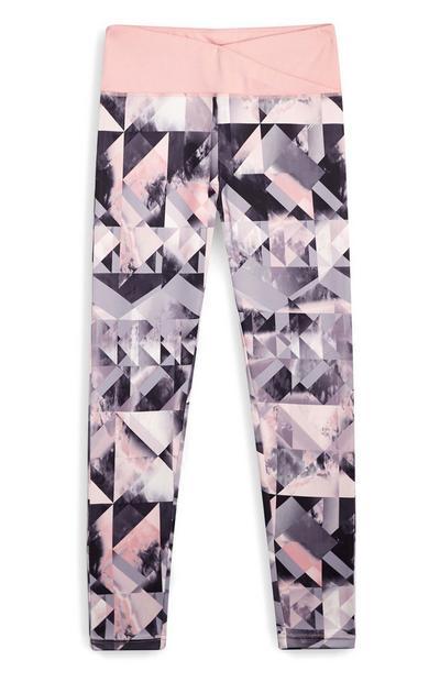 Leggings padrão geométrico rapariga