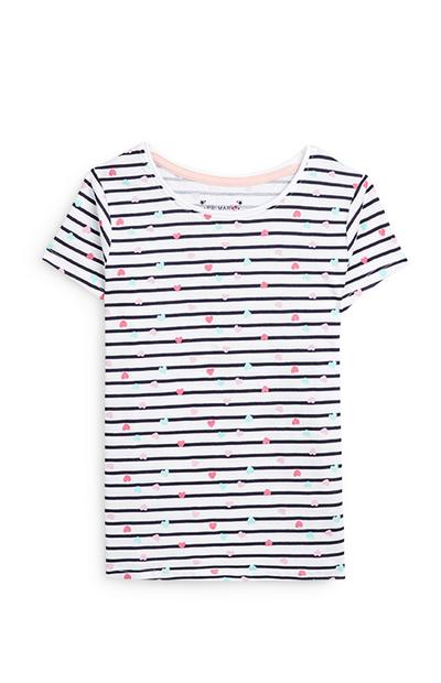 Younger Girl Black And White Heart Print Striped Short Sleeve T-Shirt
