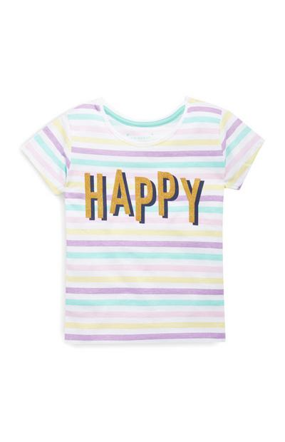 Younger Girls Happy Slogan T-Shirt