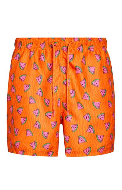 Oranje zwemshort met watermeloenenprint