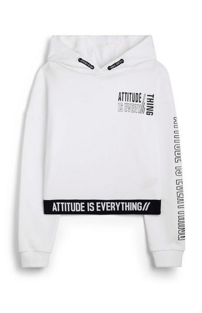 Felpa bianca con cappuccio e scritta Attitude da ragazza