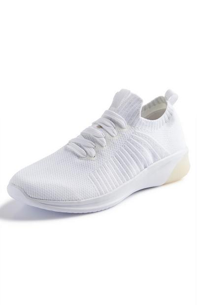White Lurex Knit Trainers