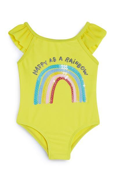 Maillot de bain jaune à motif arc-en-ciel en sequins bébé fille
