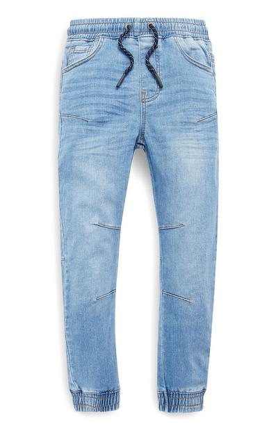 Older Boys Blue Jersey Denim Joggers