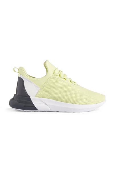 Lime Mesh Contrast Heel Trainers