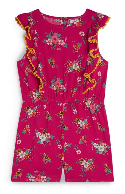 Younger Girl Pink Floral Frill Playsuit