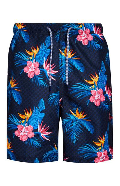 Navy Floral Swim Shorts