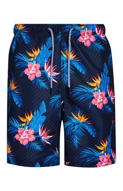 Mornarsko modre kopalne kratke hlače s cvetličnim vzorcem