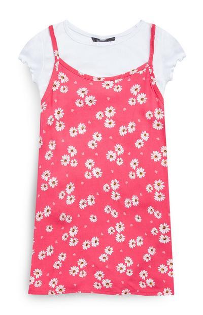 Vestido viscose 2 em 1 cor-de-rosa