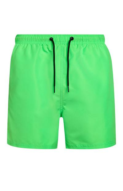 Neon Green Microfibre Swim Shorts