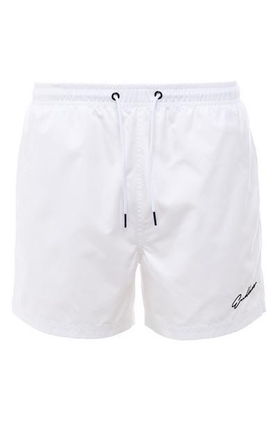 White Endless Script Microfiber Tie Waist Shorts