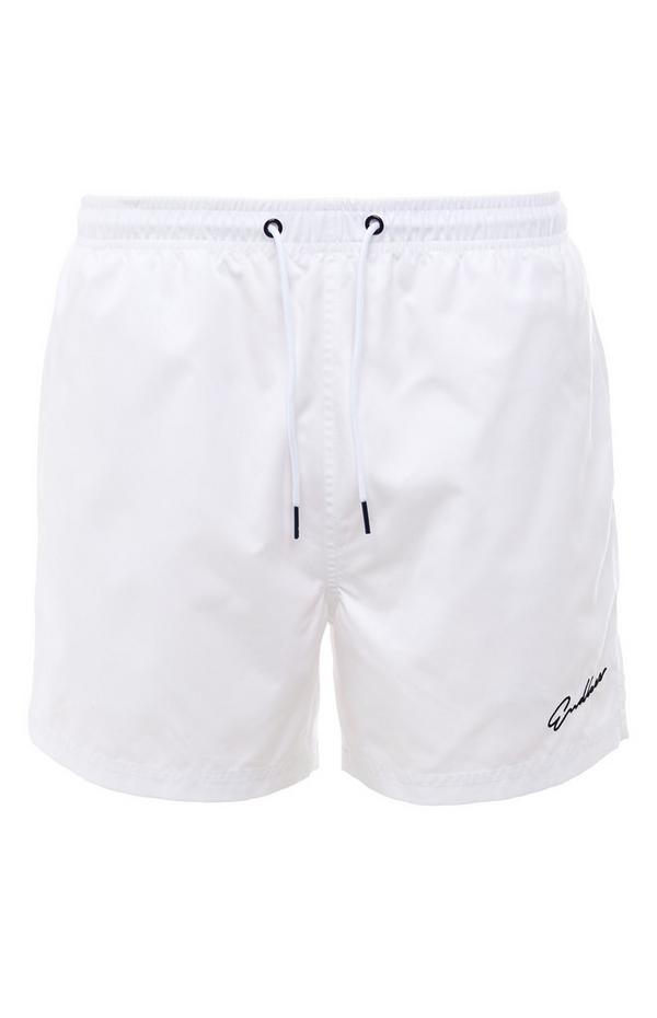 White Endless Script Microfibre Tie Waist Shorts