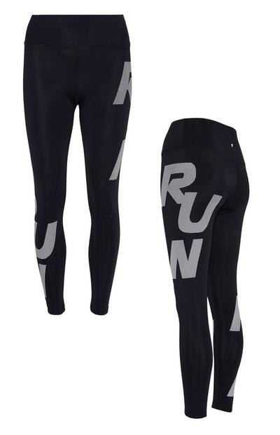 Leggings deportivos negros con mensaje «Run»
