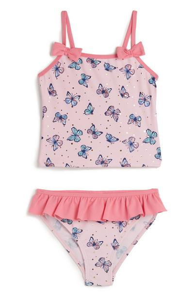 Younger Girl Pink Butterfly Print Tankini