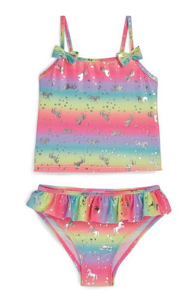 Bikini met eenhoornprint en regenboogkleuren voor meisjes