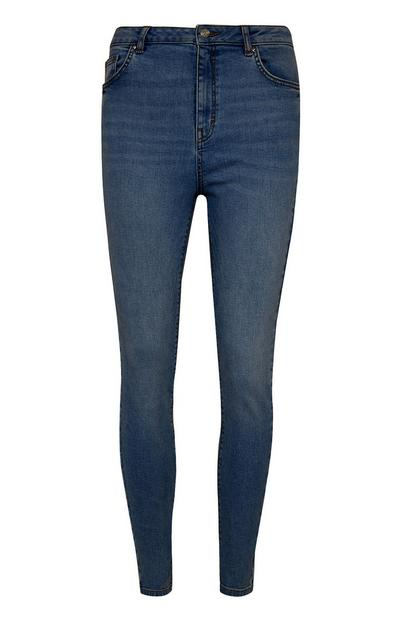 Jean skinny indigo taille haute