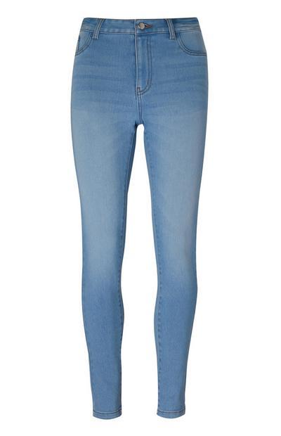 Lichtblauwe skinny jeans met hoge taille