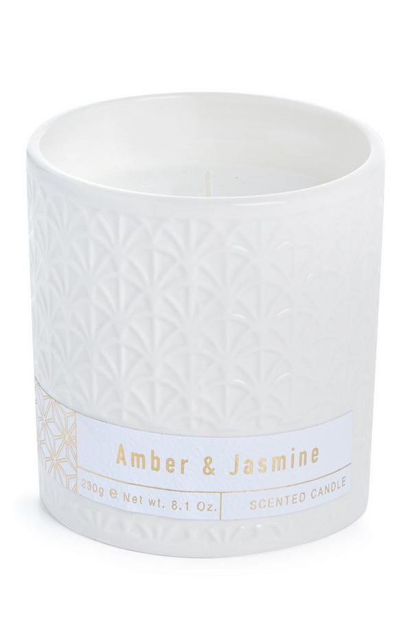 Ceramic Amber And Jasmine Scented Candle