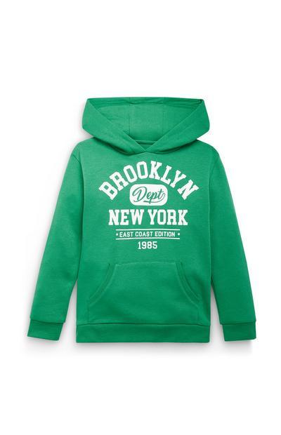Sudadera verde con capucha y estampado de Brooklyn New York para niño mayor