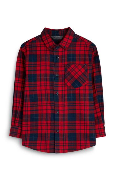 Younger Boy Red Flannel Shirt