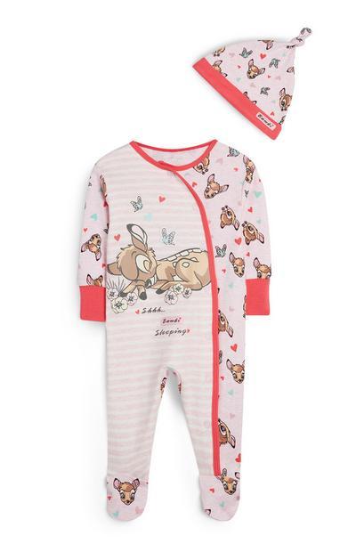 Roze gestreept Bambi-slaappakje met muts