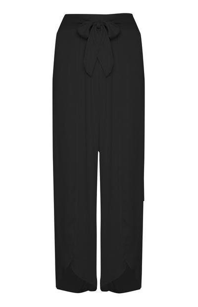Črne hlače s pentljo za plažo