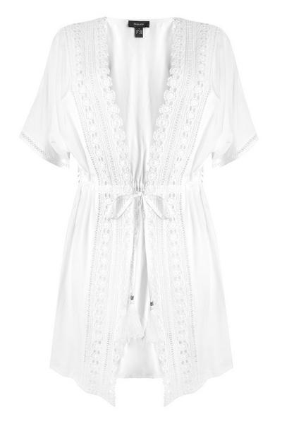 Čipkasta kimono jopica bele barve