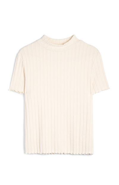 Cream Ribbed Turtle Neck T-Shirt