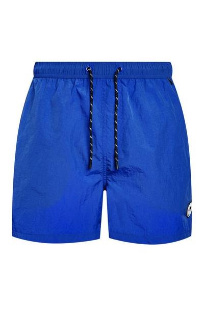 Blue Taslon Badge Swim Shorts