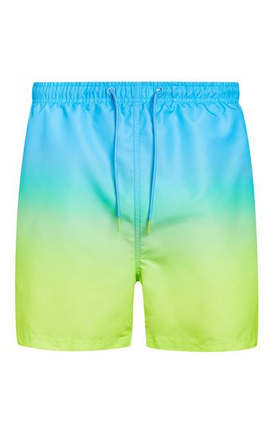 Short de bain bleu et vert effet dip dye
