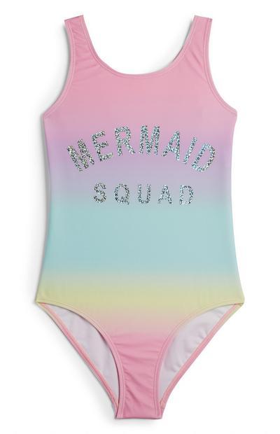 Older Girl Tie Dye Mermaid Squad Slogan Swimsuit