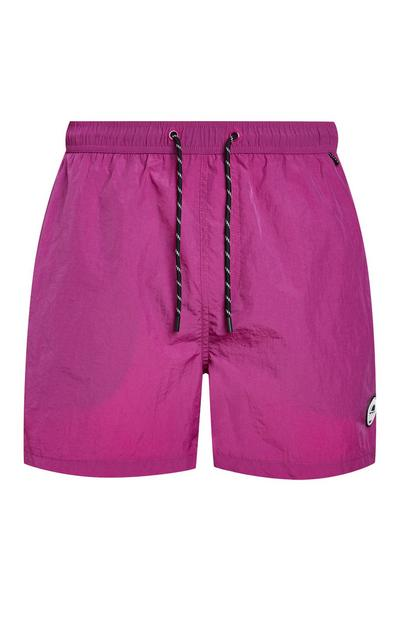 Pink Taslon Badge Swim Shorts