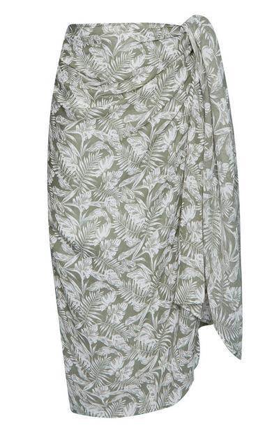 Pale Green Leaf Print Sarong