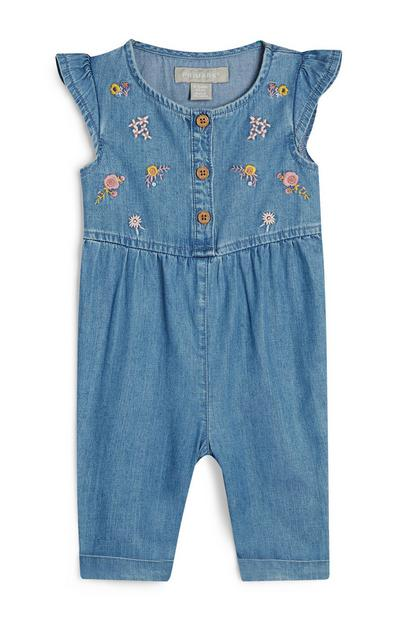 Baby Girl Tencel Floral Jumpsuit