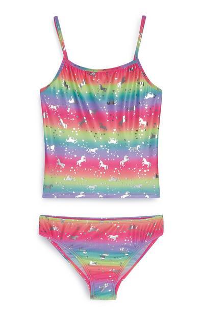 Tankini met eenhoornprint en regenboogkleuren voor meiden