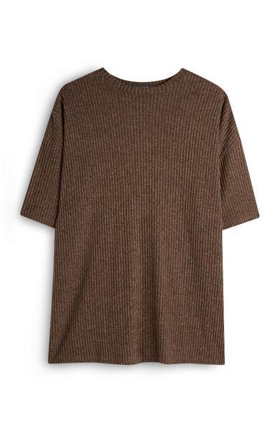 Brown Ribbed Casual T-Shirt