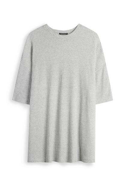T-shirt gris chiné côtelé