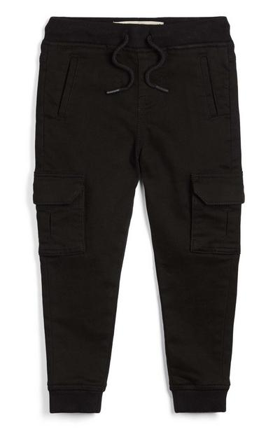 Younger Boy Black Jersey Cargo Trousers