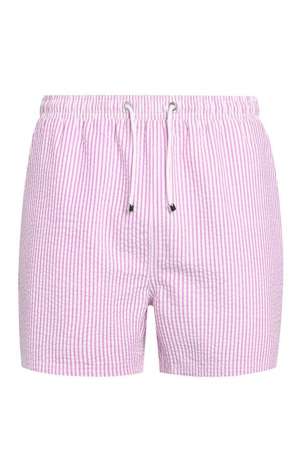 Pink Seersucker Swim Shorts