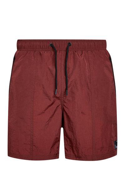 Burgundy Nylon Swim Shorts
